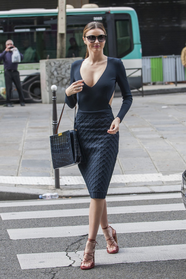 Miranda Kerr Paris Fashion Week Spring 2014 Street Style